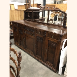 Marvellous French antique side board with beveled mirror