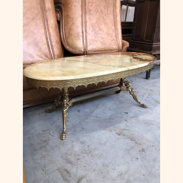 Stunning Italian marble table with copper frame. Flawless 1950
