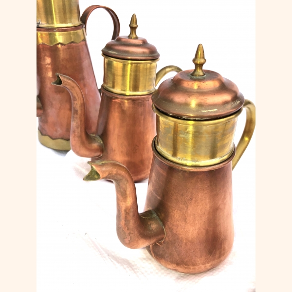 Set of 4 red copper decorative items 1950