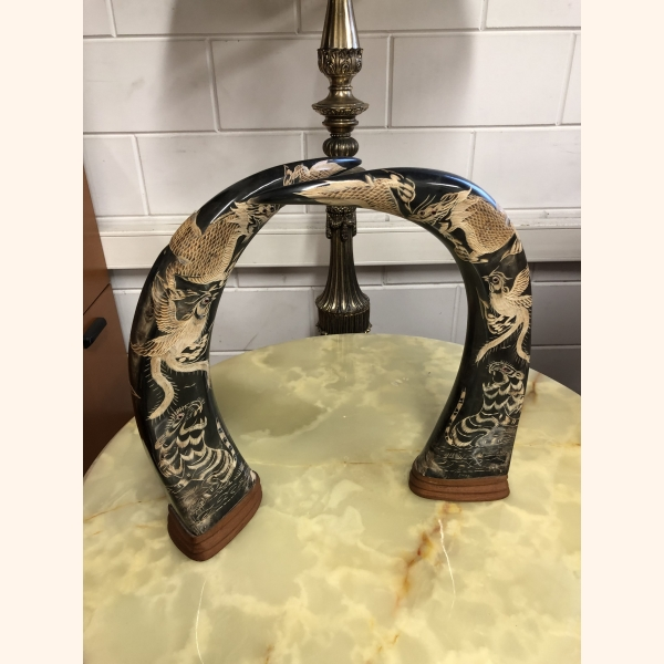Stunning set of decorated bull's horns 1940