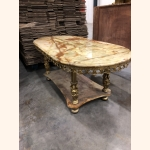 Italian Vintage Coffee Table with Marble Top and Brass frame