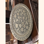Stunning large metal decorative plate with standard