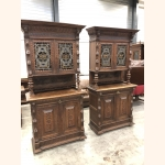 Twin Sister Antique Cupboards II 1880 leaded glass excellent quality