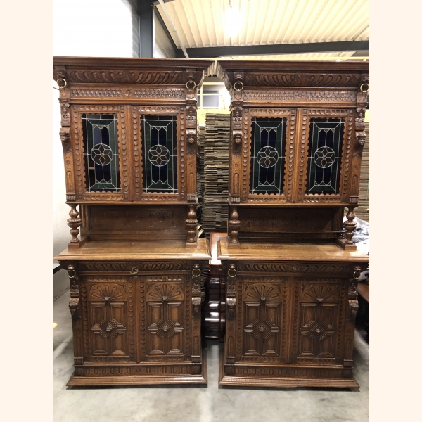 Twin Sister Antique Cupboards IV 1880 leaded glass doors. Impeccable condition