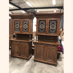 Twin Sister Antique Cupboards V 1880 leaded glass doors