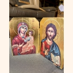 Hand painted religious wooden panels with gold