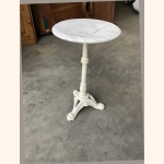 Cast iron side table with white marble top