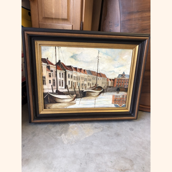 Medium sized Dutch oil painting 1960