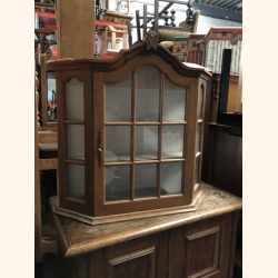 Vintage small wall vitrine oak mint condition