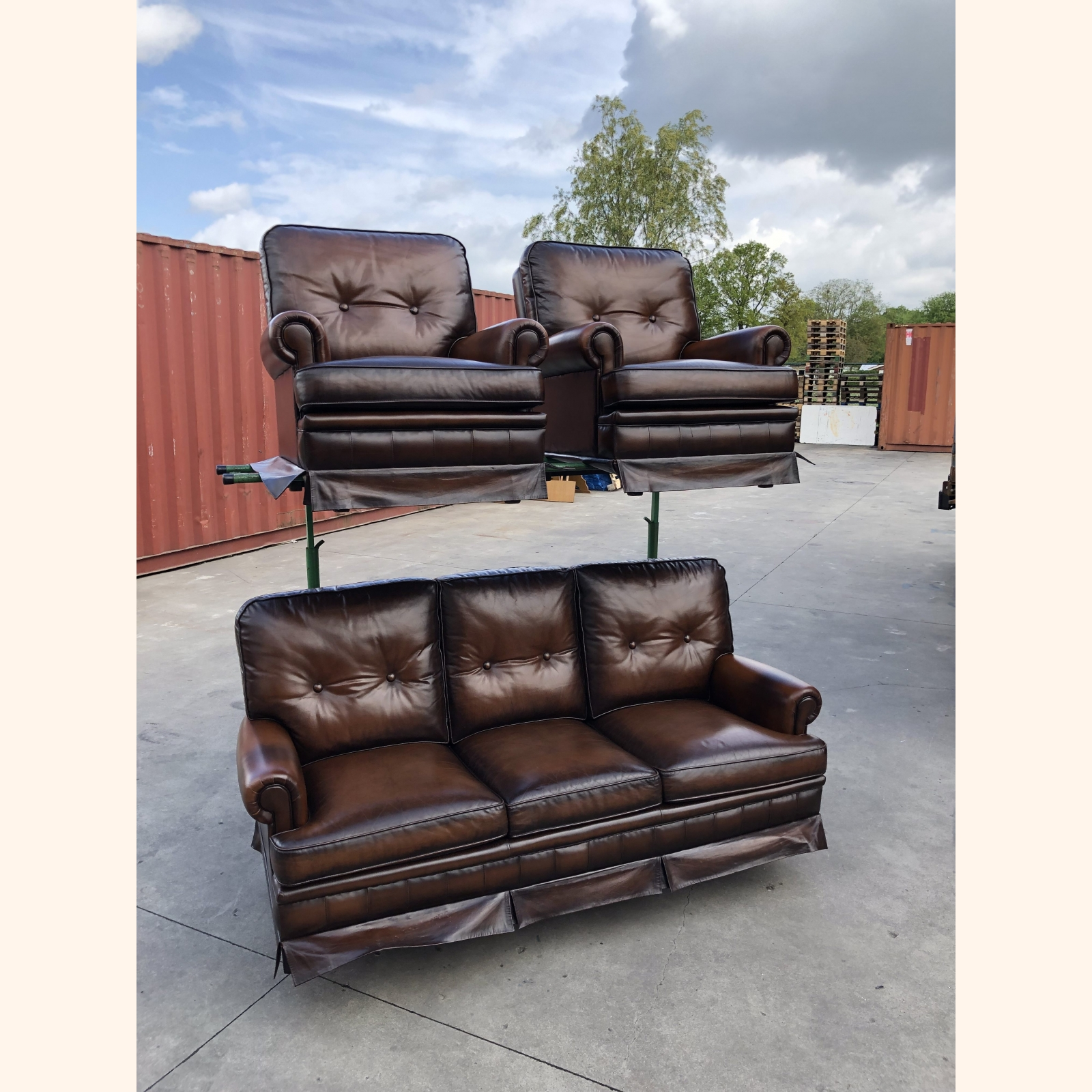Impeccable High-end Leather Sofa Set 3-1-1