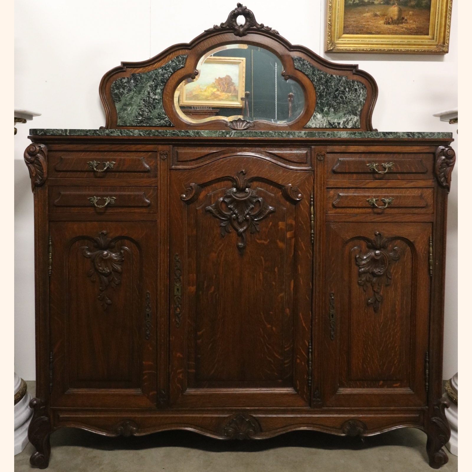Stunning Antique Dresser With Mirror And Marble A Exports Com