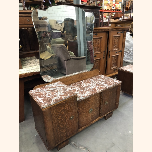 Stunning oak sideboard (mid size and small) set with mirror. Marble tops.