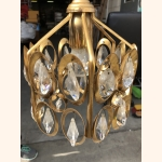 "Vintage ""diamond"" elements and gold plated hall lamp 1970"
