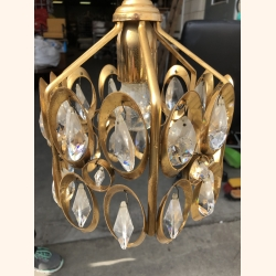 "Vintage ""diamond"" elements, gold plated hall lamp 1970"