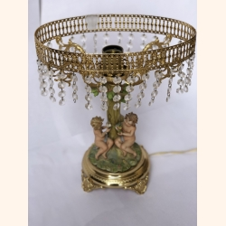 Vintage lamp with romantic decor and gold plated elements