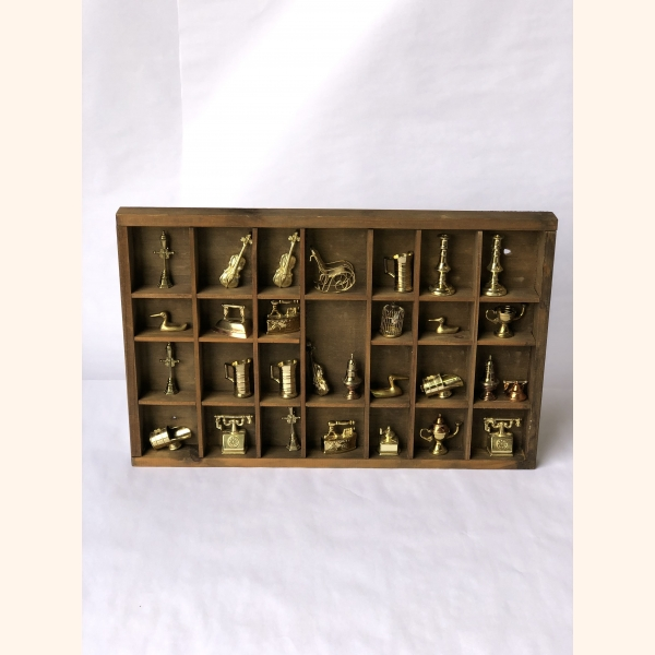 """Vintage """"print letter box"""" filled with 29 copper statues"""