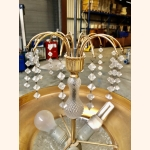 Vintage gold plated ceiling lamp with crystals