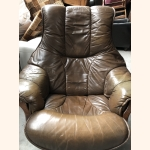 Full leather armchair with oak frame