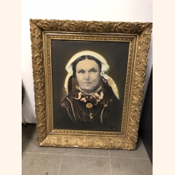 """Antique painting with gold plated frame. Year 1890 Belgian artist """"Aerts"""""""