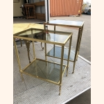 Beautiful set of brass side tables with smoked glass. 1950.