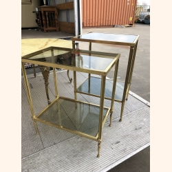 Beautiful set of brass side tables with smoked glass. Italy 1950.