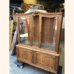Antique French Vitrine facetted glass in full wood