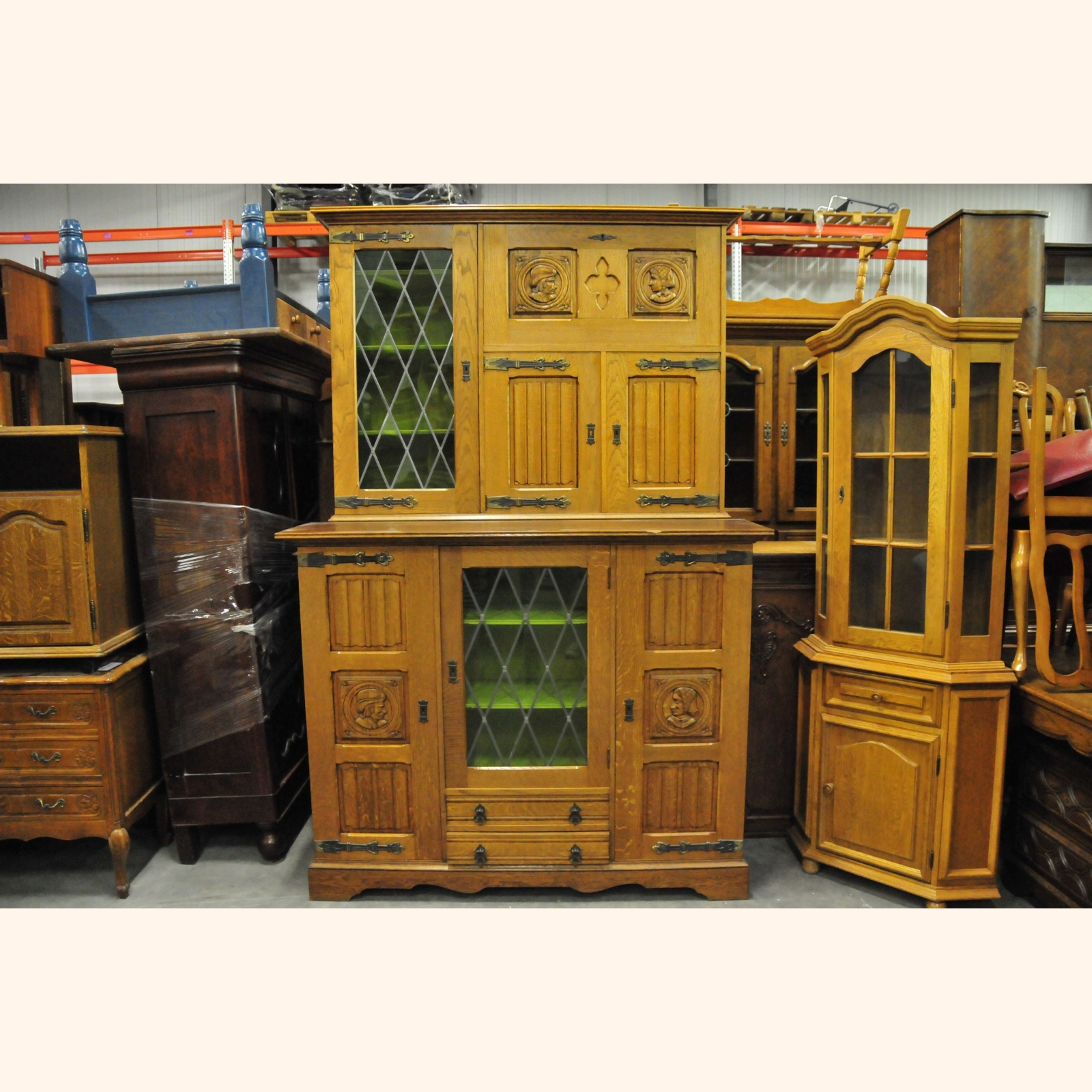 Glass Kitchen Cabinet Doors Only: Massive Oak Cabinet With Leaded Glass Doors