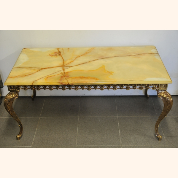 Beautiful Marble Coffee Table With Copper Frame